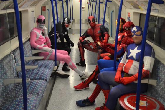 Superheroes on the London Underground