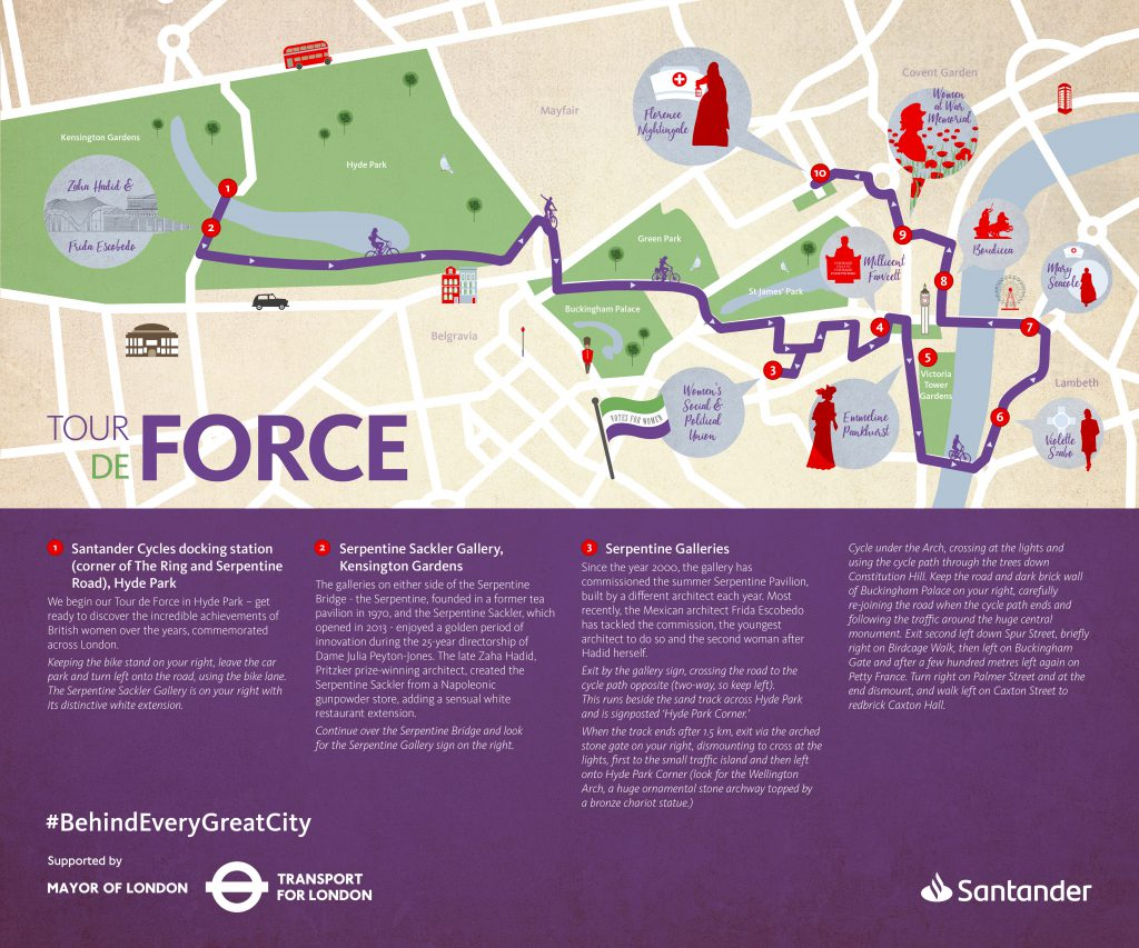 Map of the Santander Cycles Tour de Force guided cycle around London