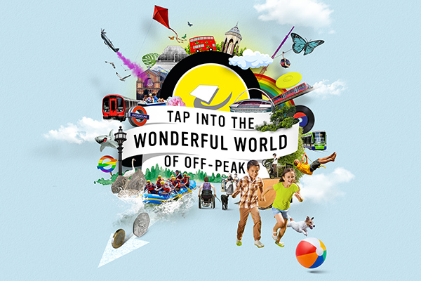 Badge showing the wonderful world of off-peak with images around the outside of trains, children and London attractions