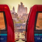 View of London between two DLR carriages