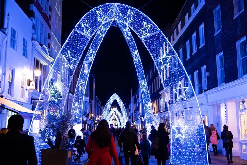 Christmas festive light displays London