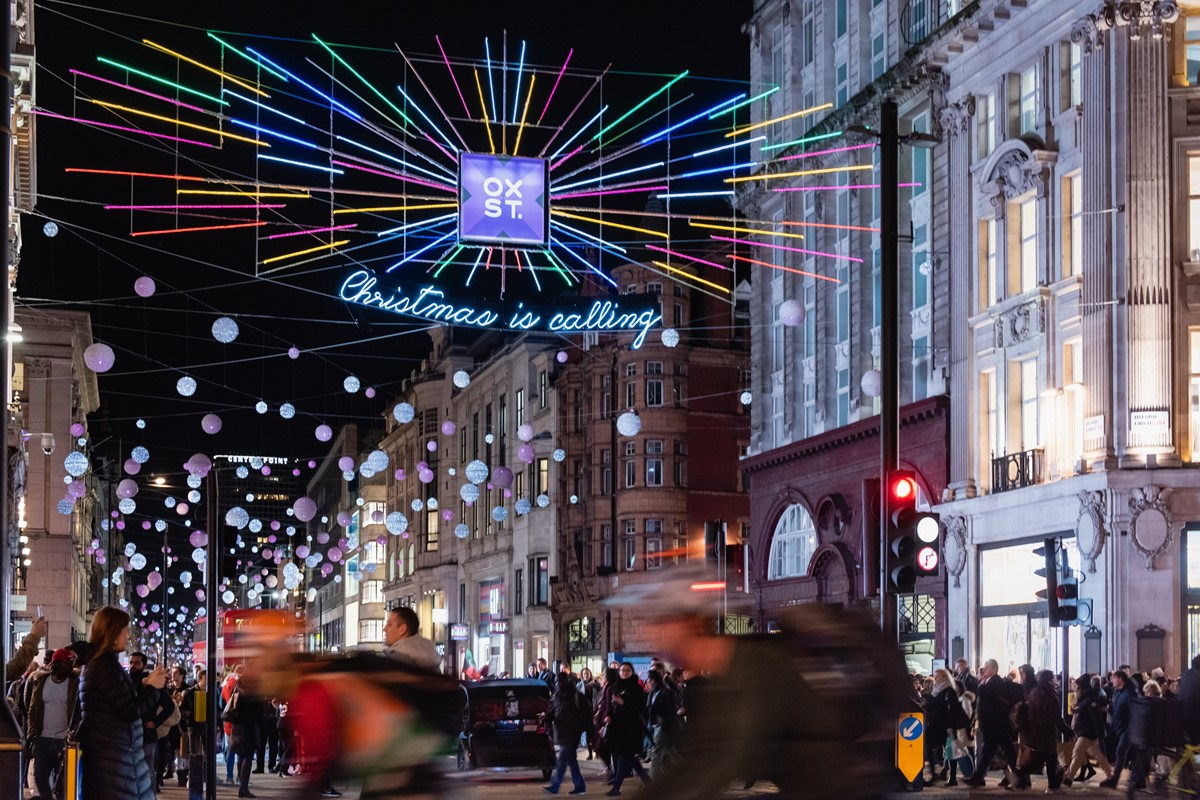 Christmas lights in Central London during winter