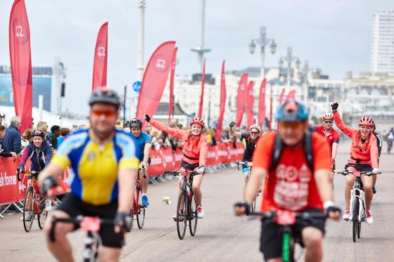 Cyclists at the London to Brighton Cycling event