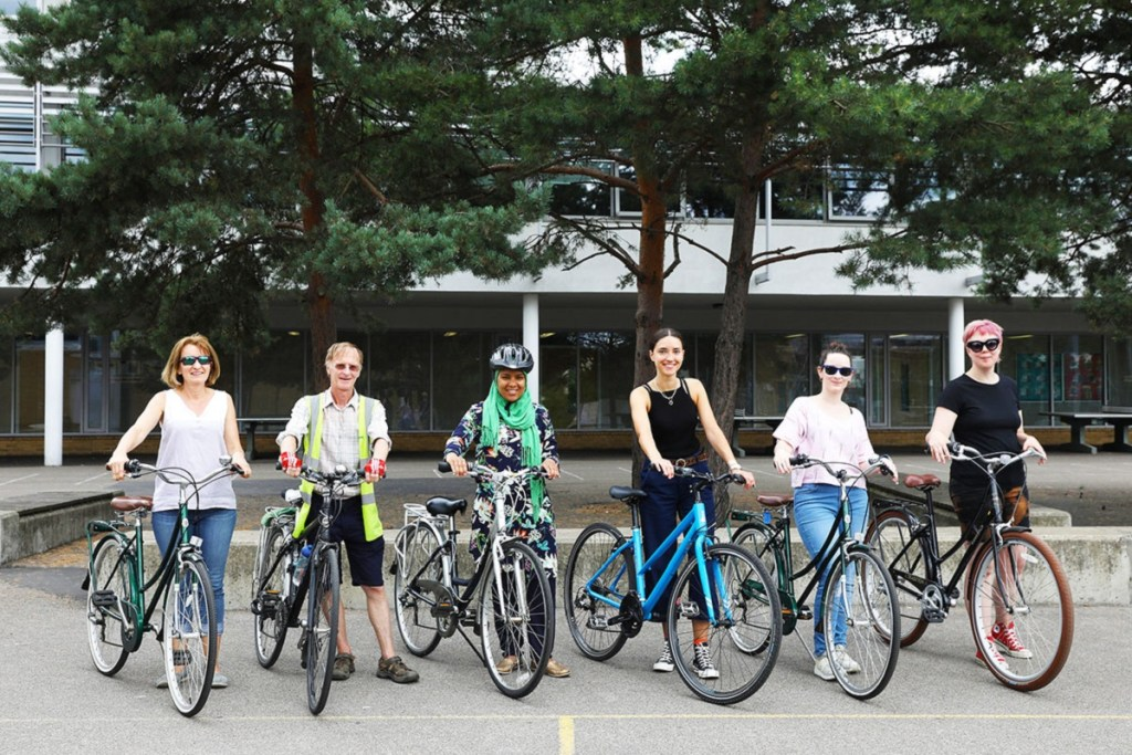 Group of cyclists attending cycling training