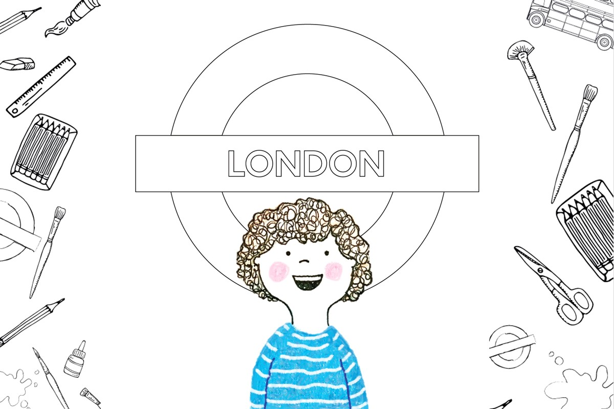 Illustration of a child in front of a roundel line art drawing