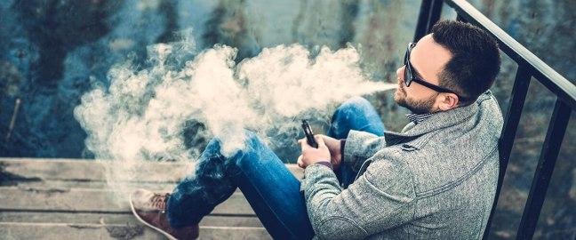 exhaling vapor