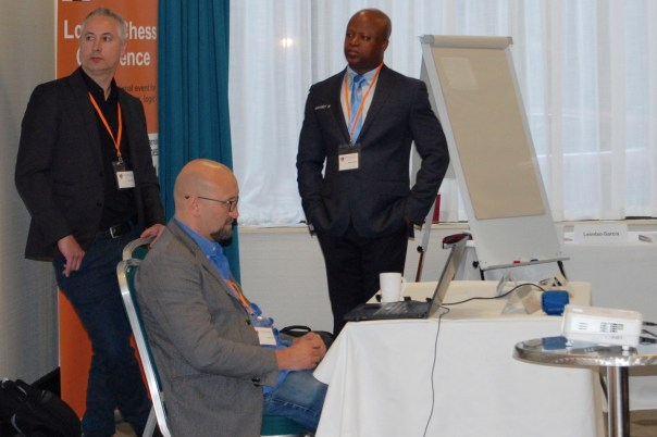 Brian Kisida, Jesper Hall, Maurice Ashley at the London Chess Conference