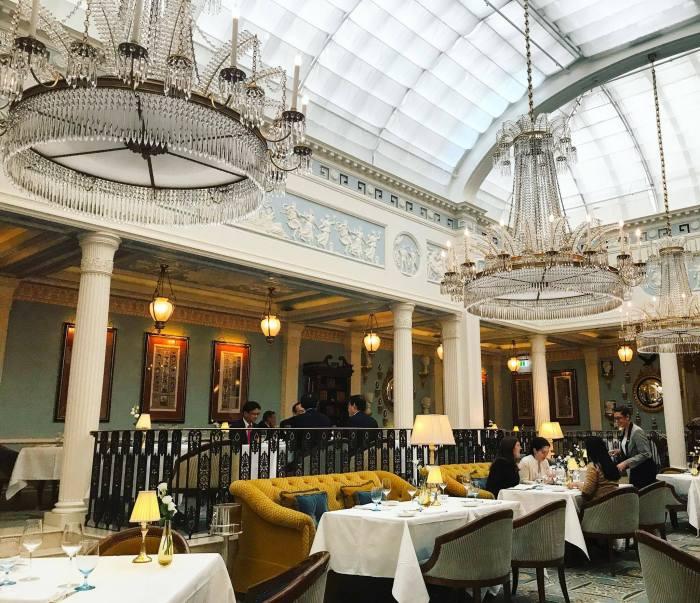Celeste restaurant at the 5 star Lanesborough Hotel in London