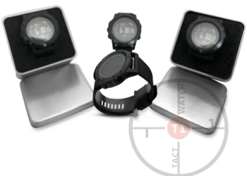 Display of Authentic T1 Tact Smartwatches, tactical wrist wear