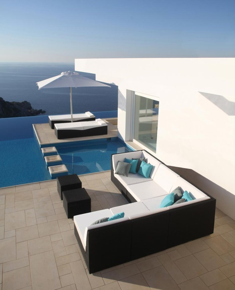 Outdoor Furniture, White Cushions and Infinity Pool