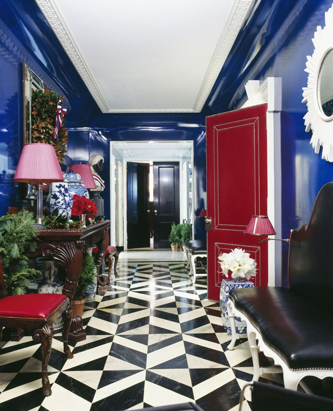 Rich Lacquard Blue Painted Walls & Red Lacquard Door