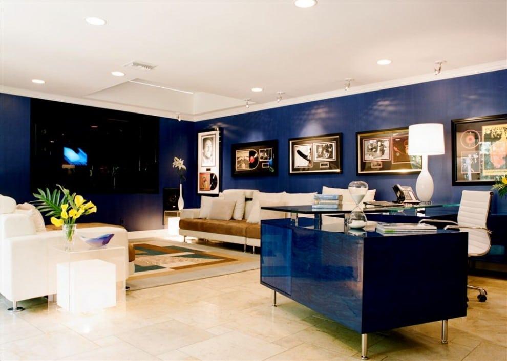 Rich Gloss Blue Walls & Desk
