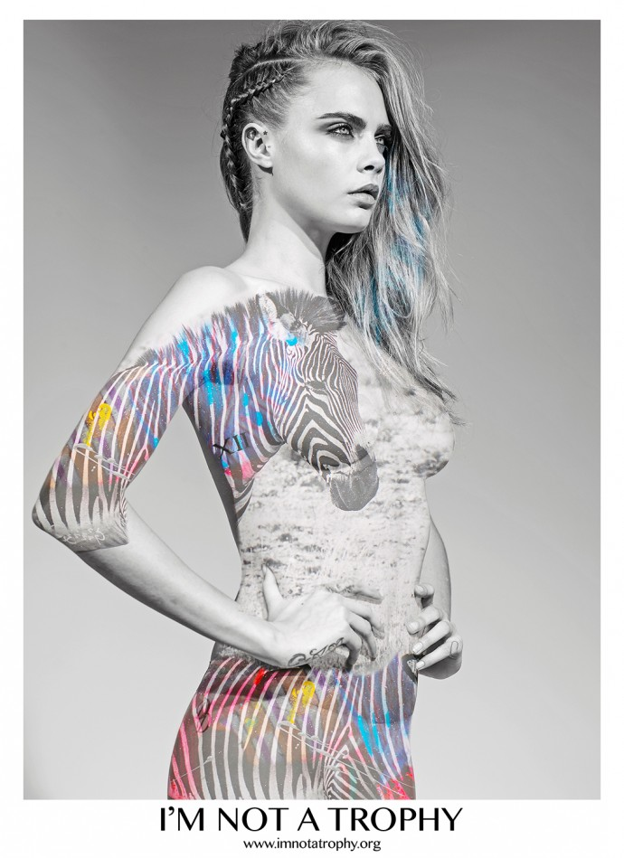 I'm Not A Trophy Campaign - Model Cara Delevingne; Photographer Arno Elias.