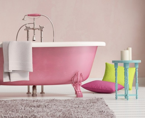 7 Ways To Add Colour To Your Bathroom - Classic Pink Bathtub