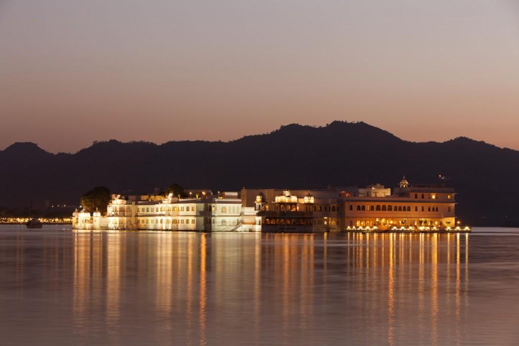 Taj Lake Palace at night, Udaipur, Rajasthan