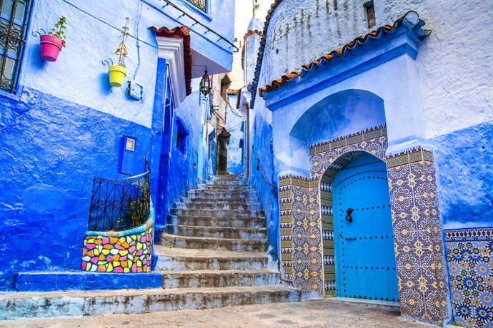 view of the street in the blue city of Chefchaouen. Location: Chefchaouen, Morocco, Africa.