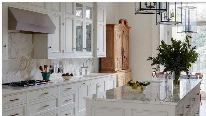 Stylish White Kitchen, With Pine Storage Cupboard