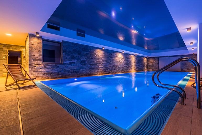 Indoors swimming pool in basement