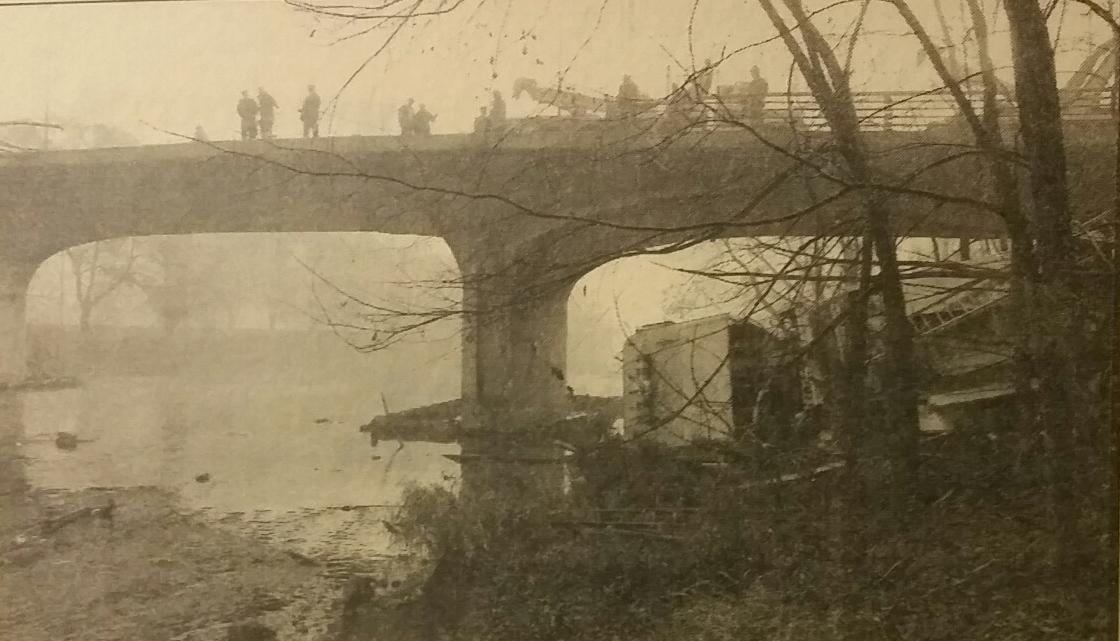 Vauxhall bridge and crumpled fire truck