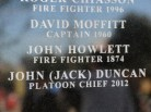 The name of retired Platoon Chief John 'Jack' Duncan was added this year, bringing to 22, the number of names on the London Fire Fighters Memorial Monument.
