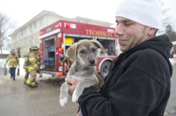 Hani El-Shourafa holds Bailey, a 10-week-old shepherd-husky mix, who was rescued by firefighters from a three-storey apartment building on Westlake St. in London on Thursday. Firefighters rescued some residents using ladders after heavy smoke trapped them in third-floor units. No one was injured. (CRAIG GLOVER/The London Free Press/QMI Agency)
