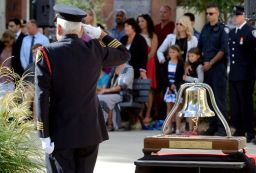 Retired Deputy Chief Peter Harding salutes during a ceremony to remember firefighters who died in the line of duty at London Fire Station No.1 on Sunday September 11, 2016. The ceremony is held annually on September 11 to remember the firefighters who died in the World Trade Tower attacks on September 11, 2001. MORRIS LAMONT/THE LONDON FREE PRESS /POSTMEDIA NETWORK
