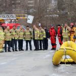 London Fire Fighters after ice water training posing for a group photo