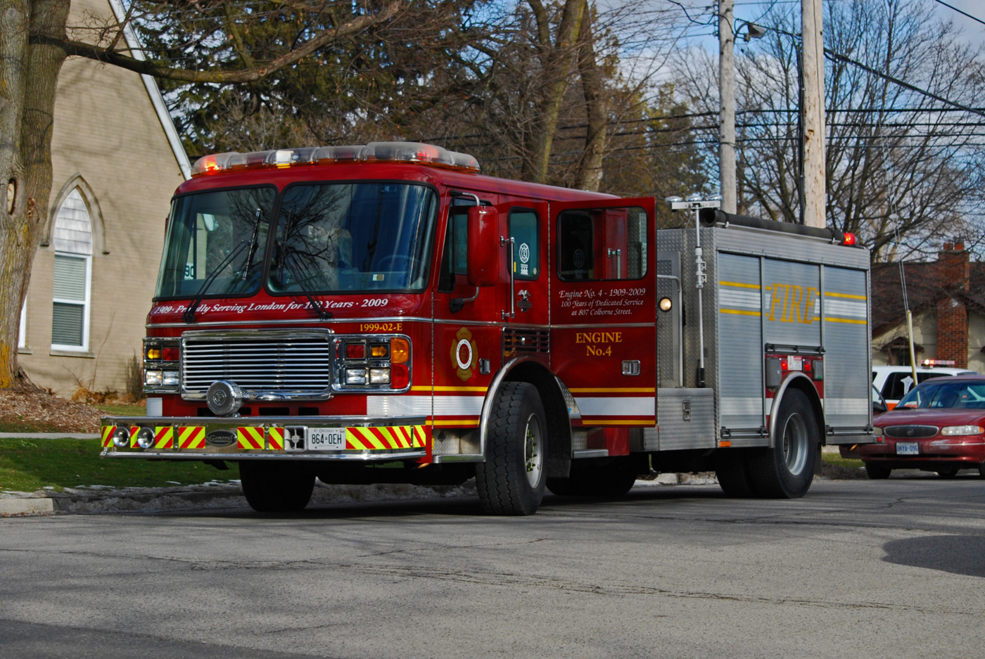 Engine 4 parked on scene at an MVC