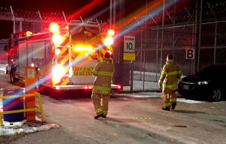 Firefighters were called to the Elgin-Middlesex Detention Centre Thursday night after materials in a jail cell were set ablaze. One guard had minor injuries. DALE CARRUTHERS/THE LONDON FREE PRESS