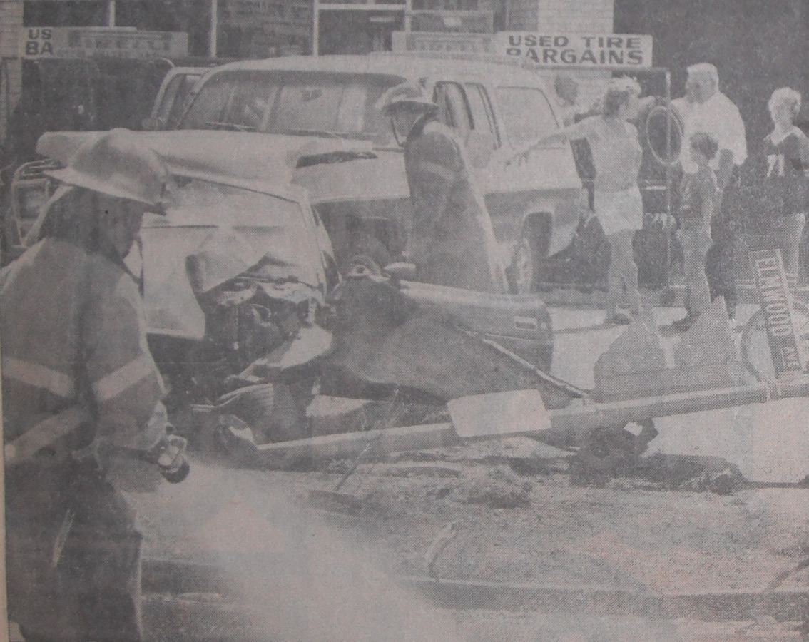 London Fire fighters survey the aftermath of a motor vehicle collision