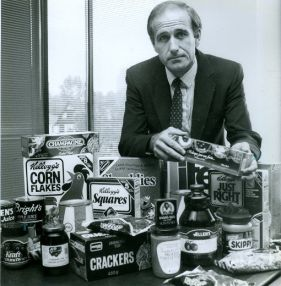 Glen Pearson, executive director of London Area Food Bank stands behind some of the nutritional type foods which he hopes will be collected during the Breakfast for Kids Food Drive. (September 1990)