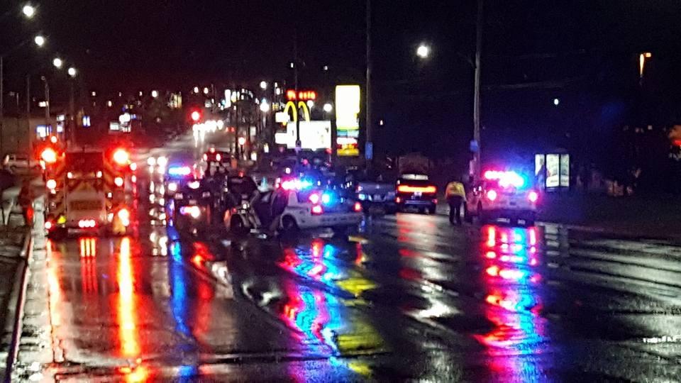 Pedestrian killed in 2 vehicle MVC