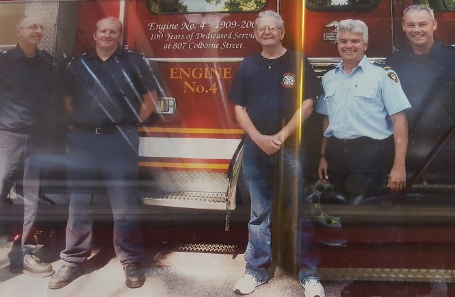 In recognition of No.4 dedicated 100 years of service. 1909-2009 L-R Jeff Barrett, Kyle Kruse, Retired Chief Jim Fitzgerald, Captain Kirk Loveland, and Tom Nicholson
