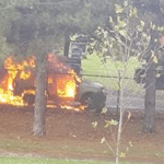 Jeep Fire in Cemetery