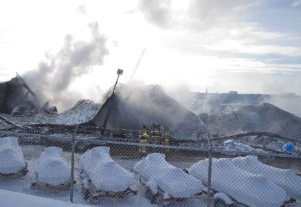 Firefighters working a hot spot