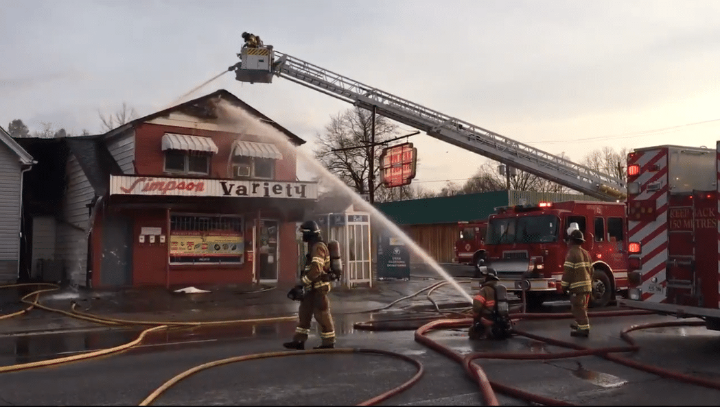 Large volumes of water put on building fire