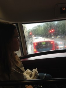 Sitting at the front of the bus, second level, is the best way to tour and endure the rain.