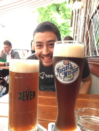 Corey got the bier with cola, and I took a dunkel
