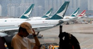Cathay Pacific cancels flights to Hong Kong.