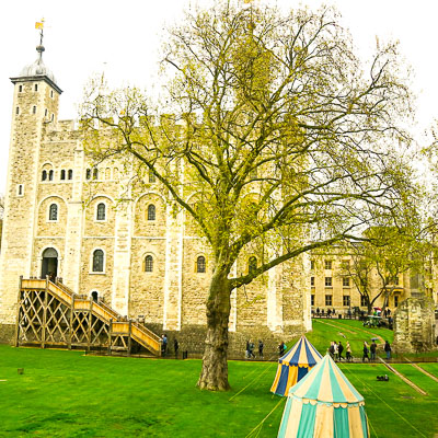 On this day, there was a little jousting going on by the White Tower. A lot of bravado! / Jill Browne