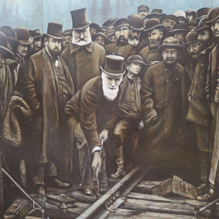 Lord Strathcona in the Last Spike mural at Craigellachie, by Jill Browne. The mural is based on the famous photograph of the event