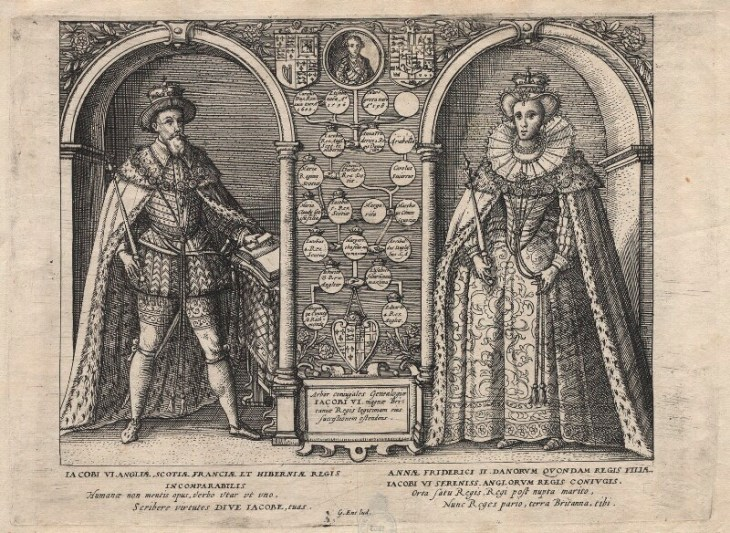 King James I of England and VI of Scotland; Henry, Prince of Wales; Anne of Denmark after Unknown artists etching, 1603-1612 7 7/8 in. x 11 in. (200 mm x 278 mm) plate size; 8 7/8 in. x 11 7/8 in. (226 mm x 303 mm) paper size NPG D18233