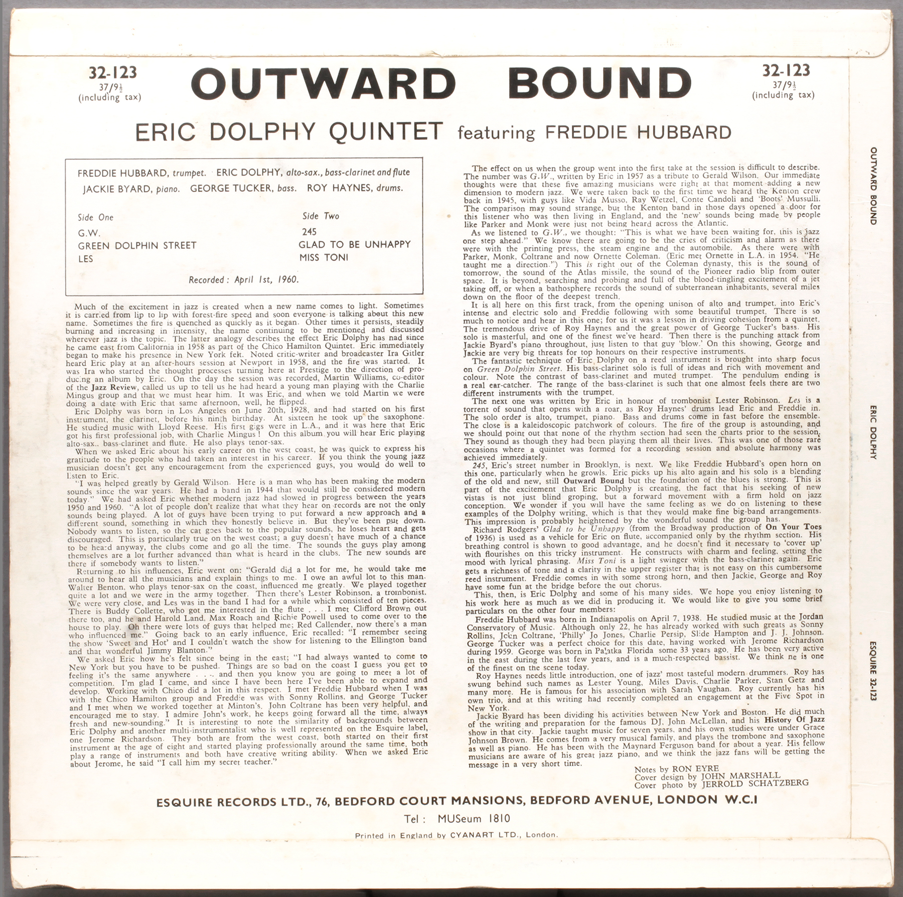 Eric Dolphy Outward Bound 1960 Esquire