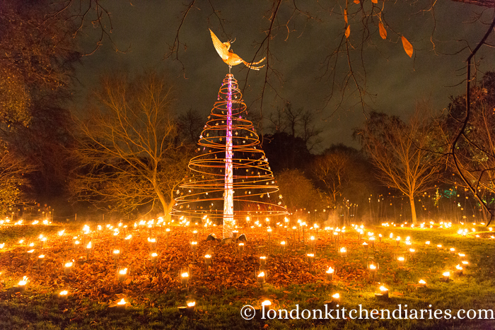 Kew Gardens, London, torches, fire, Christmas
