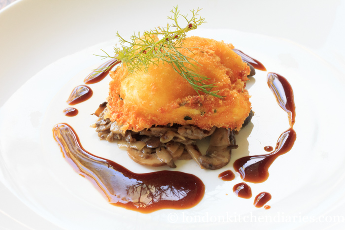 Crispy coated poached egg with shiitake mushrooms