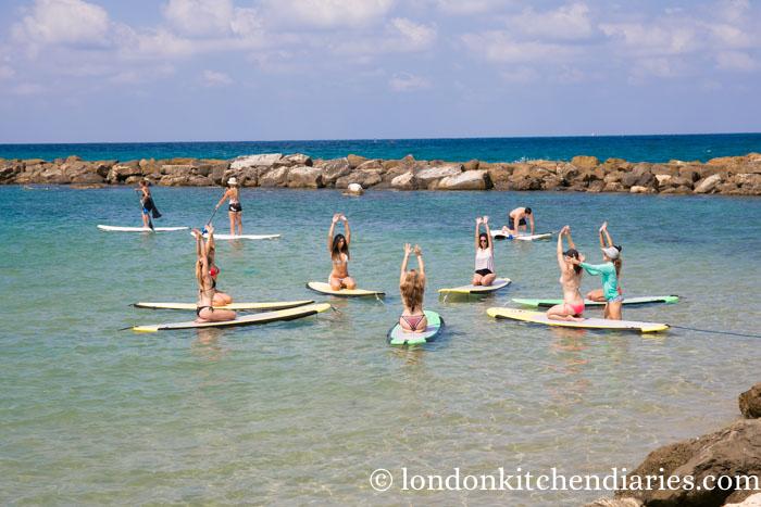 Yoga on paddle boards in Tel Aviv Israel
