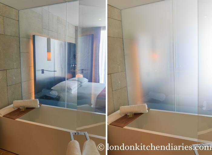 Liquid-crystal bathroom walls at Mamilla Hotel Jerusalem
