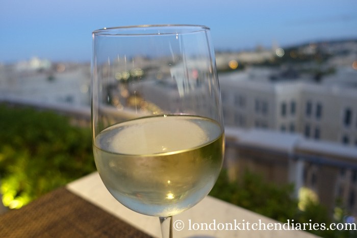 A glass of Nahal Ha'Pirim, Gush Etzion Winery Rooftop Mamilla