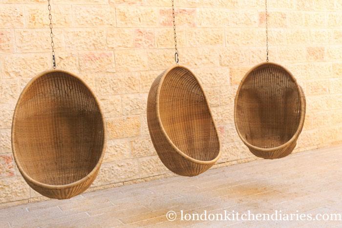Relaxing hanging baskets at Mamilla Hotel Jerusalem
