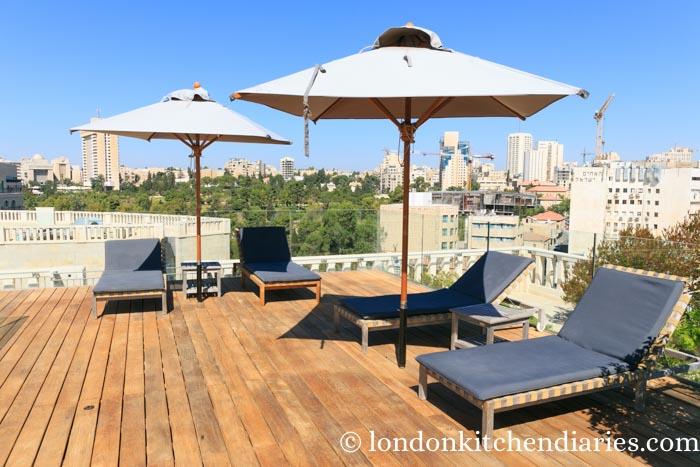 Rooftop sun terrace at Mamilla Hotel Jerusalem